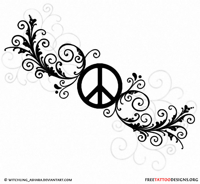 Drawn peace sign text Tattoos 50 would ankle Peace