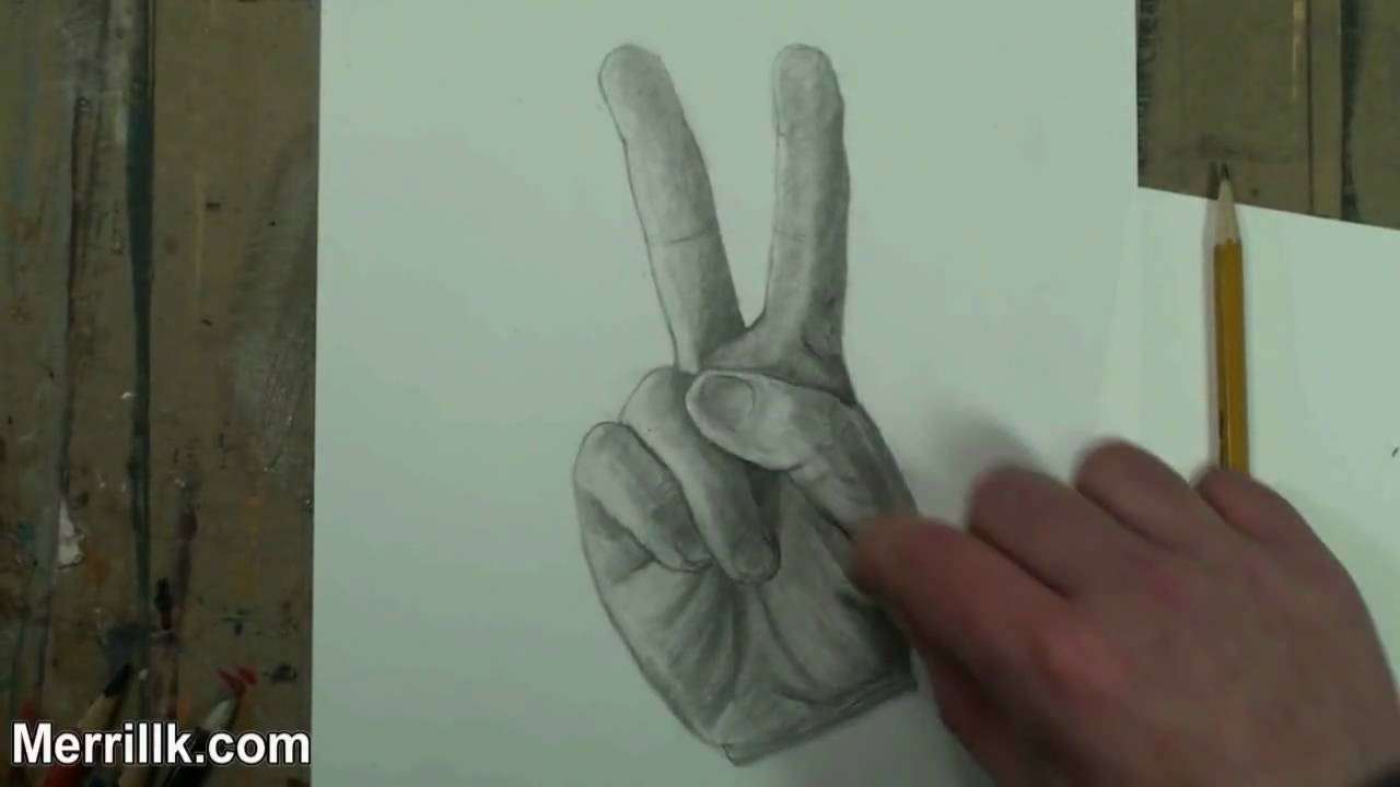Drawn peace sign two finger How by Step to Step