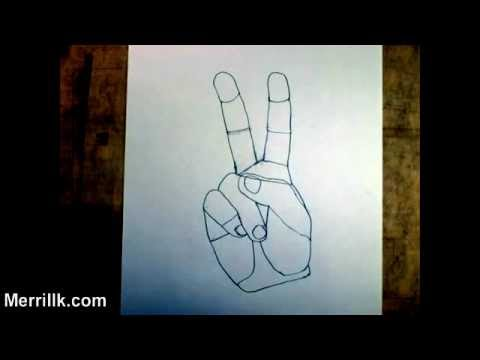 Drawn peace sign two finger Hand Sign Step a Sign