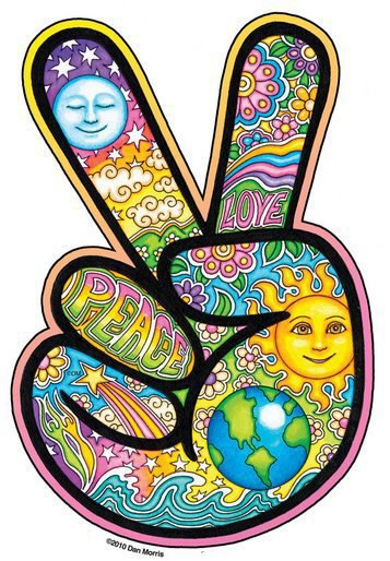 Drawn peace sign two finger Hippie Psychedelic Sticker Hand Hippie