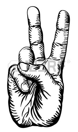 Drawn peace sign two finger Illustration A human white giving
