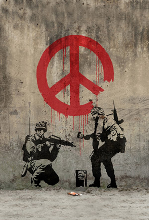 Drawn peace sign violence Peace Painting Soldiers by Banksy