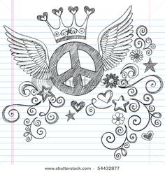 Drawn peace sign doodle Sign Metals with Vector stock