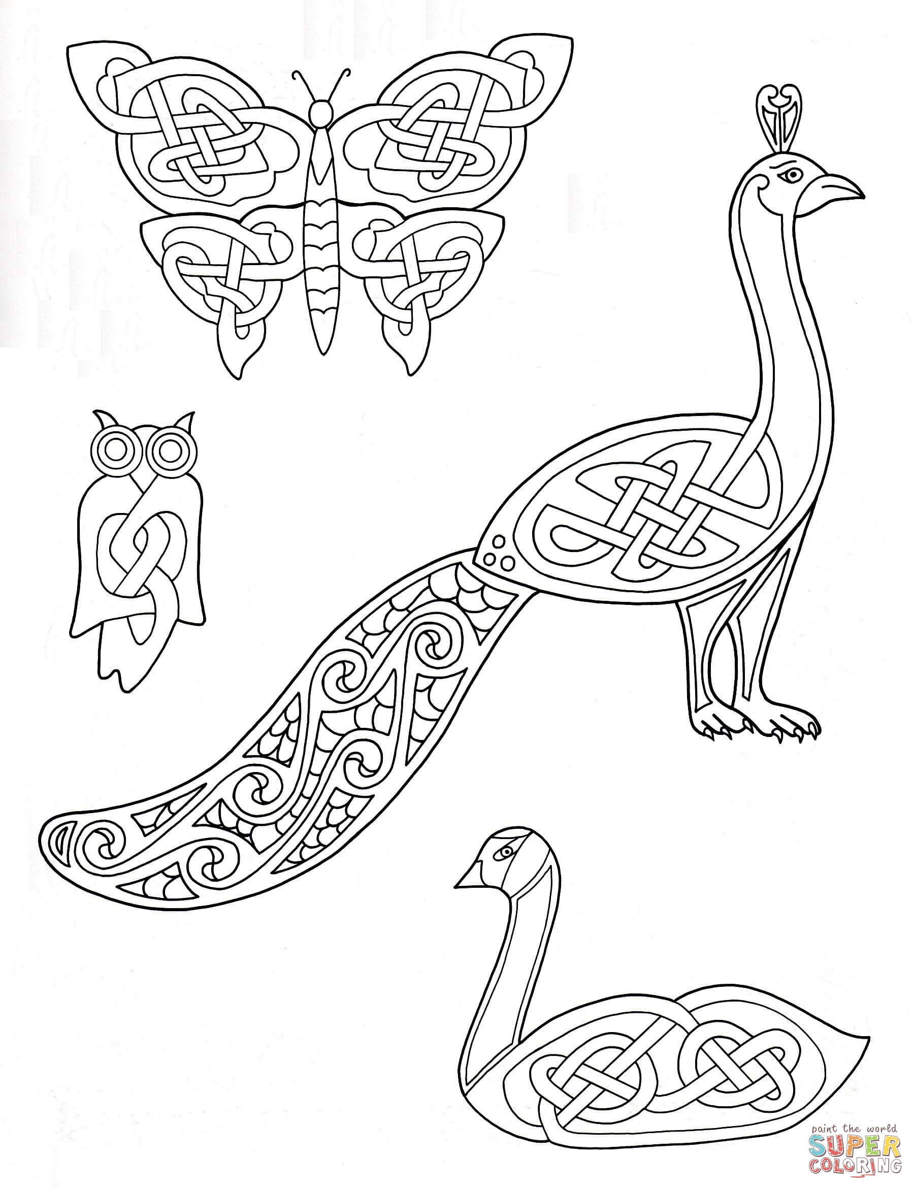 Drawn peacock celtic Animals Coloring Celtic the Animals