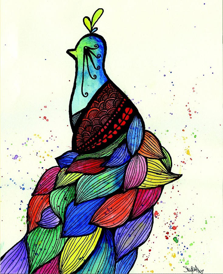 Drawn peacock colour full Drawing by Peacock Peacock Raquel