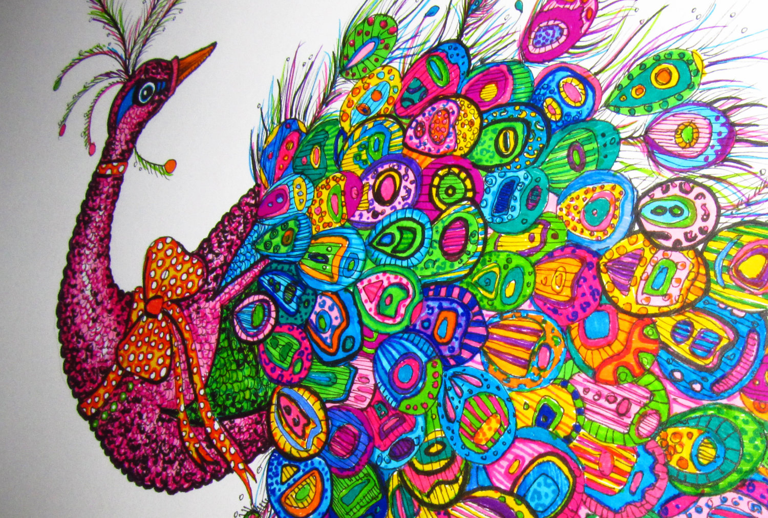 Drawn peacock colour full Colorful Shipping Drawing 4 klejonka