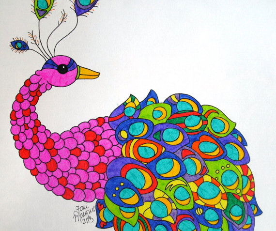Drawn peacock colour full Vvisitingmexico Drawing · Drawing com