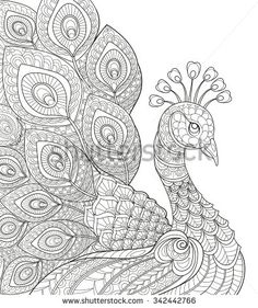 Drawn peacock cute animal And page Black coloring hand