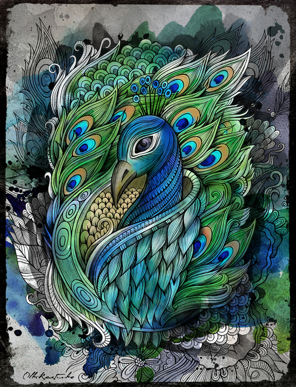 Drawn peafowl artistic Pin Pinterest peacock JR Find