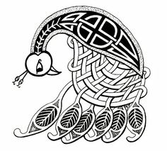 Drawn peacock celtic Embroidery by celtic KalonaCreations Peacock