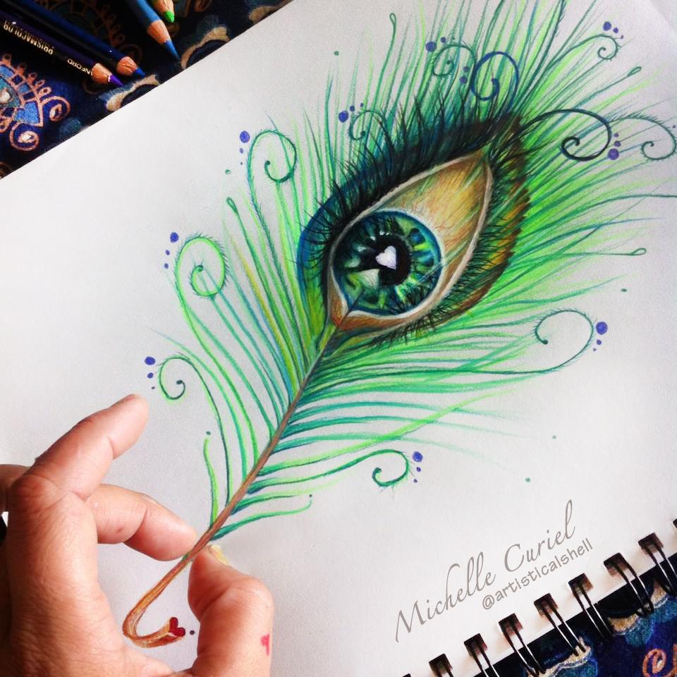 Drawn peafowl creative eye  Eye artisticalshell Peacock Drawing