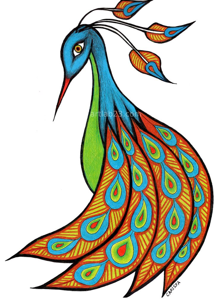 Peacock clipart easy draw Peacock ideas Colorful drawings 25+