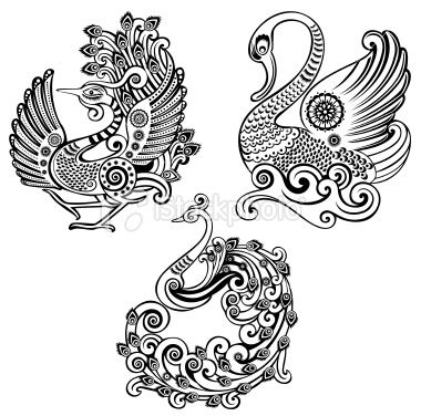 Drawn peacock decorative Art Line on Digis images