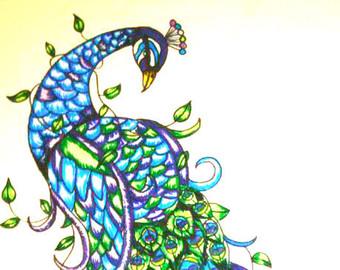 Drawn peafowl pen Peacock peacock liner art original