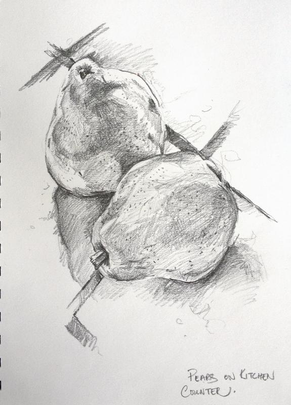 Drawn pear People Sketch Pears Pondering