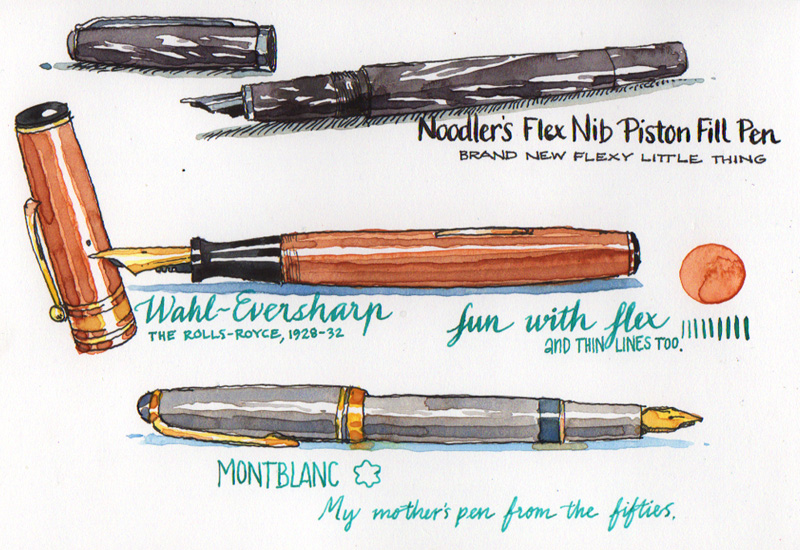 Drawn pen Fountain with pen the drawn