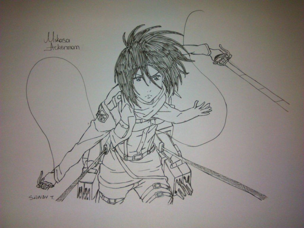 Drawn pen ackerman By DeviantArt on Mikasa HatsuneSandy