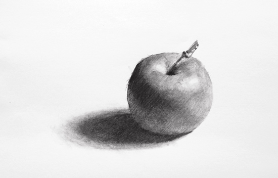 Drawn pen apple Demonstration step drawing with drawing