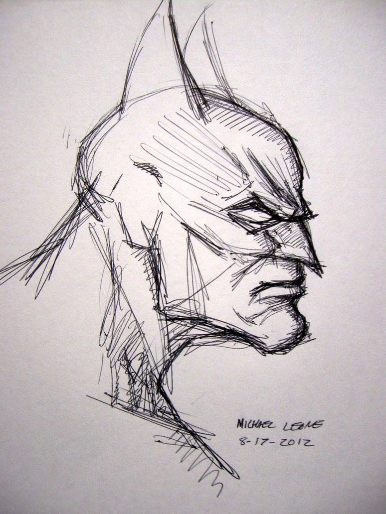 Drawn pen batman Sketch by myconius ball point