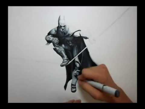 Drawn pen batman Arkham Batman City: YouTube