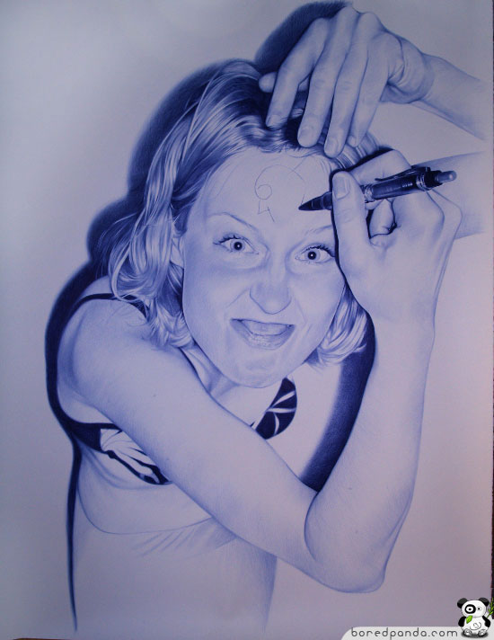 Drawn pen bic pen Pictures Panda Bored Drawn with
