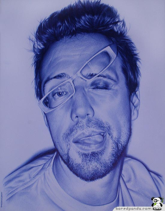 Drawn portrait ballpoint pen Pictures a  BIC Photorealistic