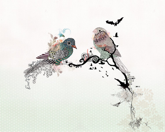 Drawn pen bird Art Love Love Love birds