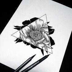 Drawn pen black Flower flowers daisy drawing art