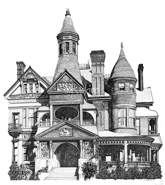 Drawn pen building And Dulce Victorian Stippled by