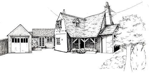 Drawn pen building By & the Sue Artwork