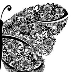 Drawn pen butterfly #8