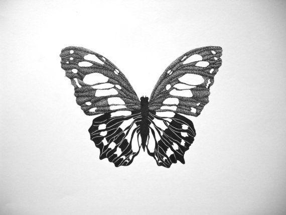 Drawn pen butterfly #3