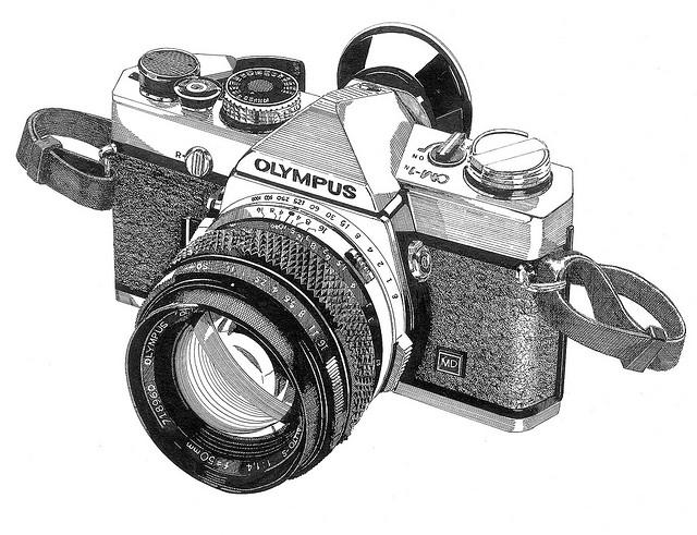 Drawn pen camera A camera & digital beautiful
