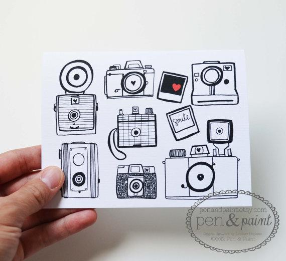 Drawn pen camera Camera Four Hand of Stationery
