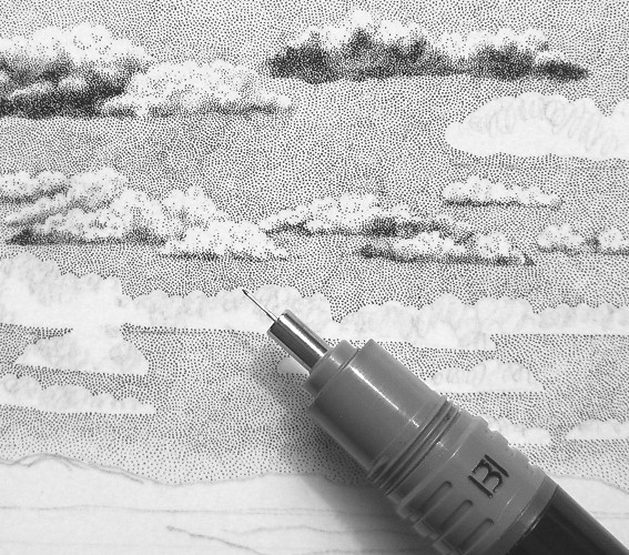 Drawn pen cloud Plein tree Ink and Ink