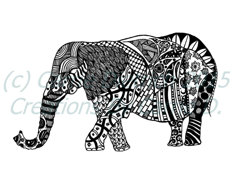 Drawn pen elephant Art Art Black Ink Etsy