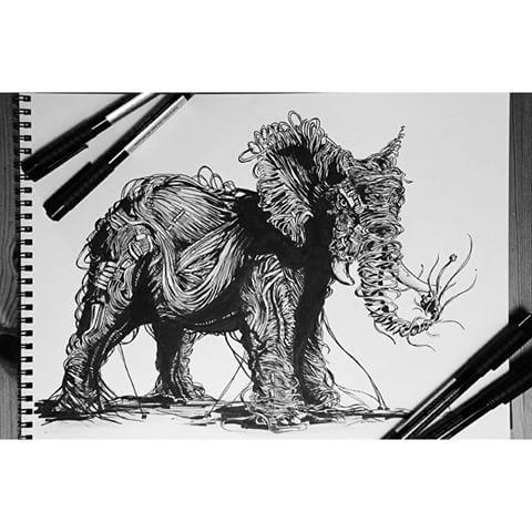 Drawn pen elephant Elephant videos art class for