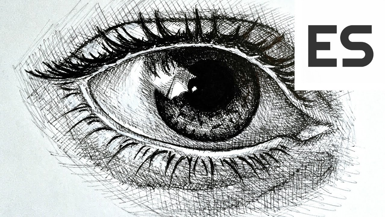 Drawn pen eye And Realistic Pen Ink How
