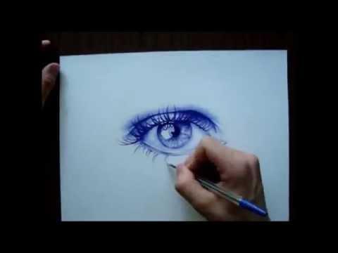 Drawn pen eye Eye with a pen realistic