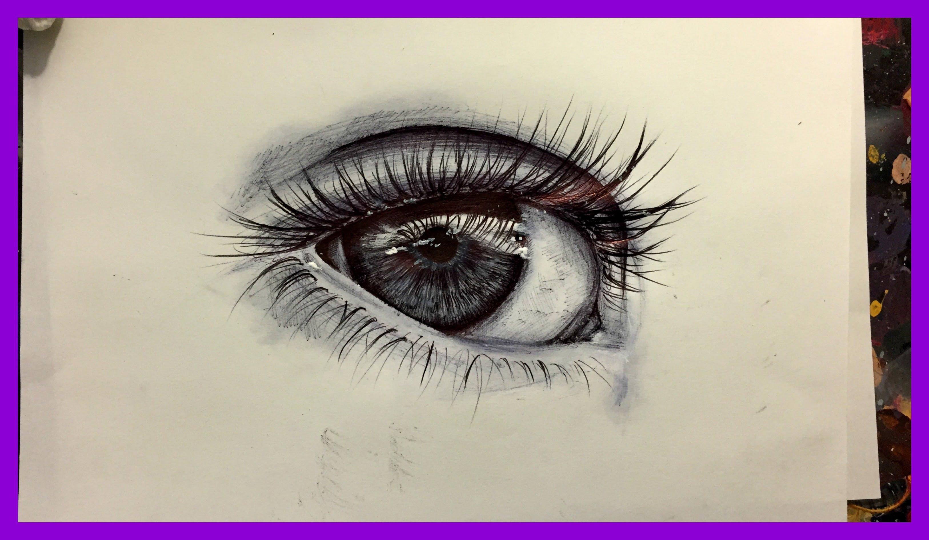 Drawn pen eye REALISTIC TO DRAW EYE DRAW