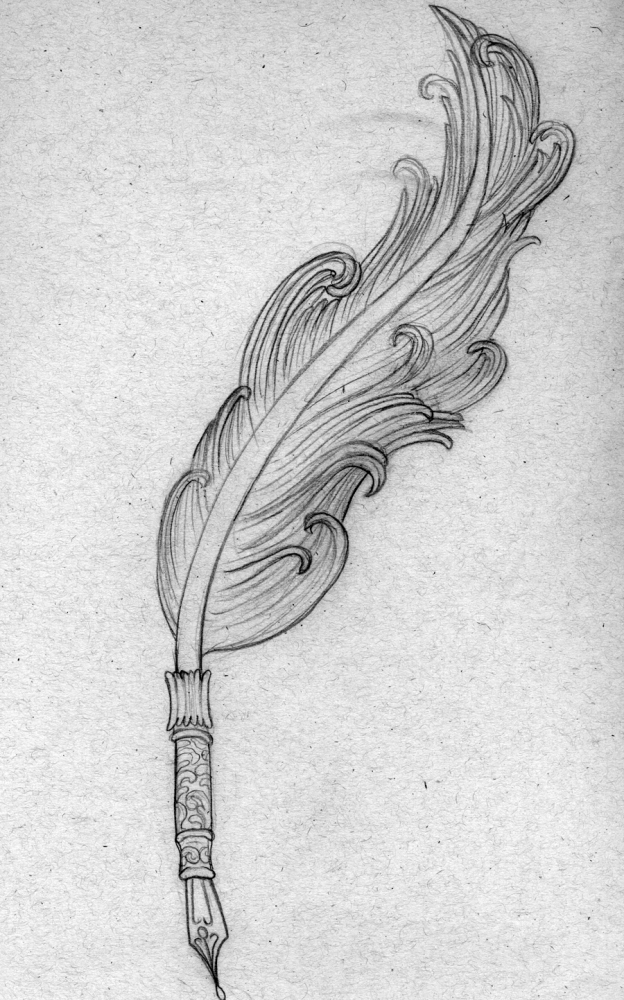 Drawn pen feather As quill feather pen
