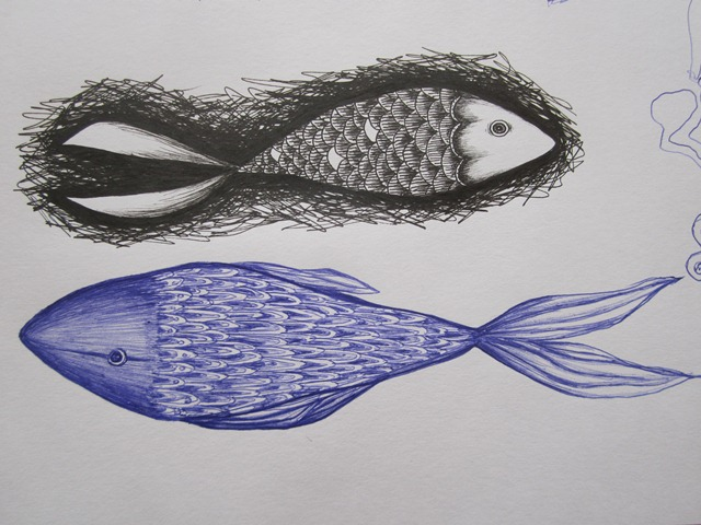 Drawn pen fish These and fish class Pisces