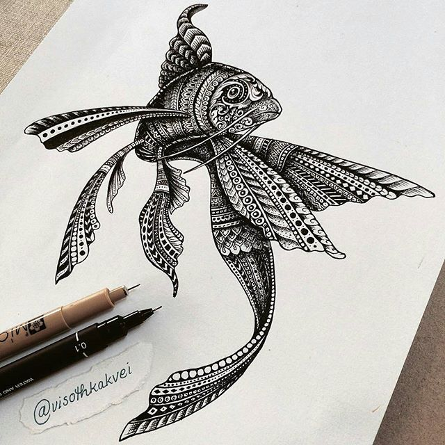 Drawn pen fish Art visothkakvei Google Pinterest Pencil