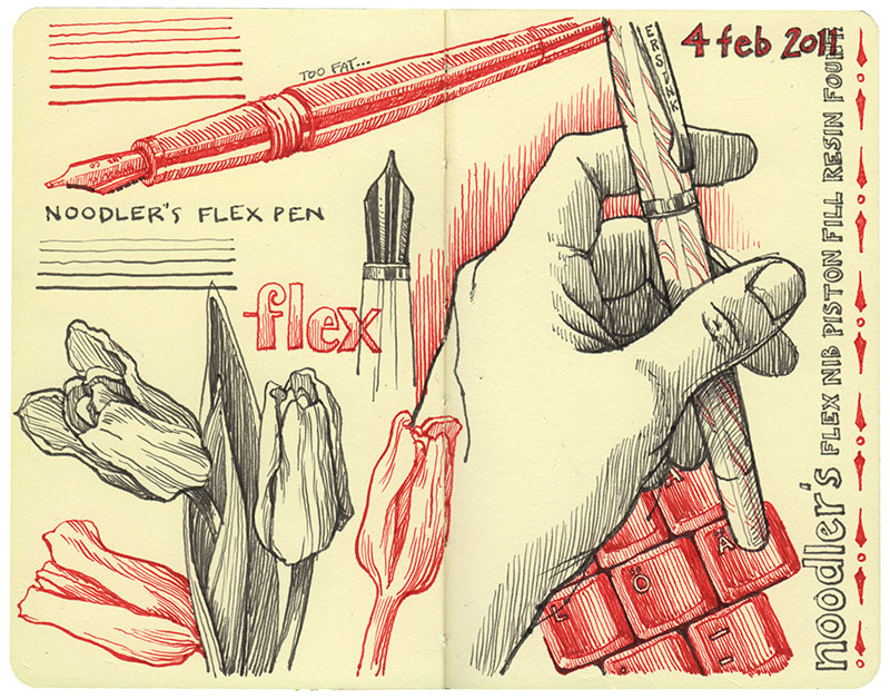 Drawn pen flex Drawing Nina Johansson noodlers_flex_nib_page tools