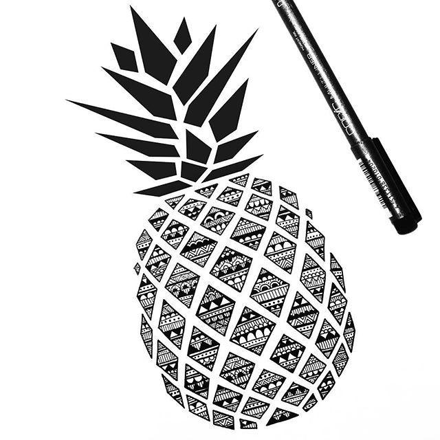 Drawn pen fruit On Pinterest ideas Pineapple drawing