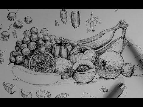 Drawn pen fruit Life Ink Drawing draw still