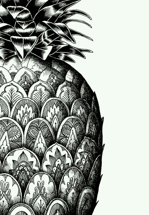 Drawn pen galaxy Kawaii monochrome kawaii pineapple galaxy
