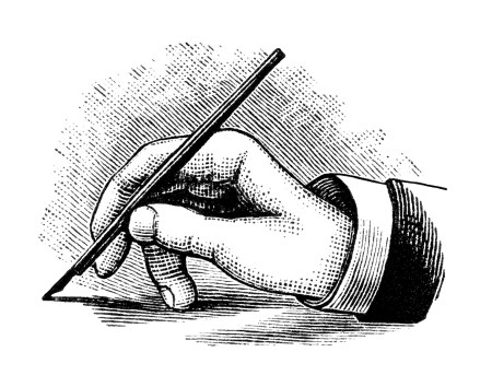 Drawn pen hand clip art Hand hand with writing pen