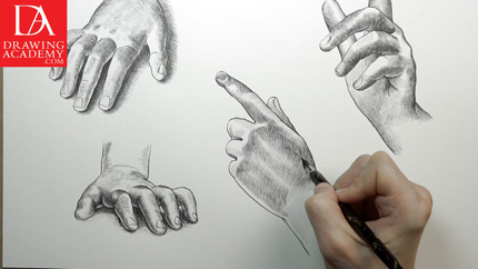 Drawn pen hand drawing Presented Academy Drawing Lessons by