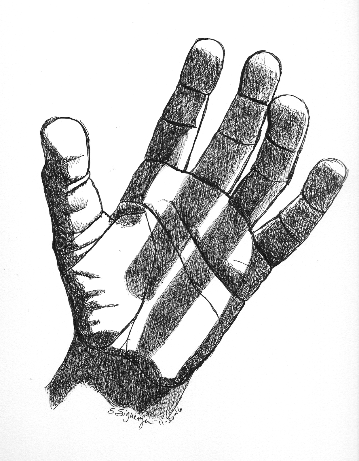 Drawn pen hand drawing With shadows drawing finger drawing